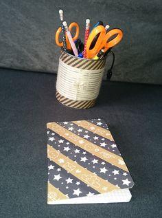 pot a crayon en boite de conserve, recouvert de fil de laine et de scotch papier craft