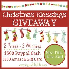 Christmas Blessing Giveaway!