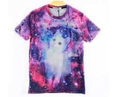 - Animal cat galaxy t-shirt funny shirt for all the cat lovers - Cute and funny 3D print for a fun playful look - Made from cotton - Slim fit so be sure to add 1 or 2 sizes up - Available in 4 sizes