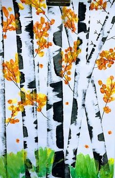 This week 4th grade will start their fall birch tree painting! We create these by using.... 12x18 90lb paper Crayola black tempera ...