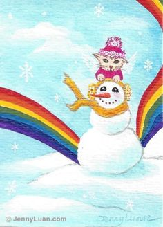 ACEO original cat angle, snowman, snowflake, rainbow, acrylic painting