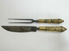A 17th Century Ivory and Brass Handled Fork and Knife Set in Leather Sheath