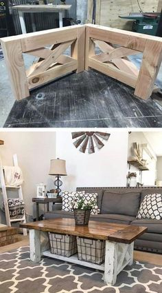 DIY Farmhouse Coffee Table for the home living room diy living room projects Pläne für rustikale Holzmöbel Do It Yourself (DIY) & Crafts - Jo. Diy Interior, Living Room Interior, Home Living Room, Living Room Designs, Interior Design, Living Room Tables, Coffee Table Decor Living Room, Farmhouse Furniture, Furniture Plans