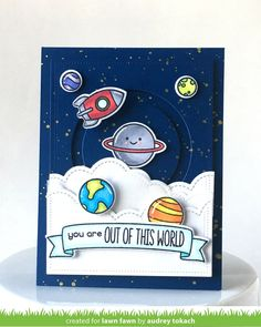 Lawn Fawn - Out of this World, Puffy Cloud Borders, Slide on Over Circles, Bannertastic _ circle slider card by Audrey for Lawn Fawn Design Team Boy Cards, Kids Cards, Cute Cards, Tarjetas Diy, Lawn Fawn Blog, Slider Cards, Lawn Fawn Stamps, Interactive Cards, Handmade Birthday Cards