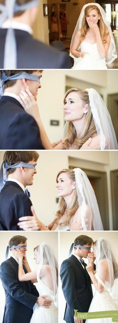 Such a cute pre-wedding photo idea! Because technically its the groom that cant see the bride before the ceremony!