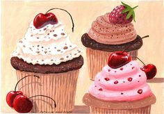 "Cupcakes - 9 X 12"" acrylic on 140 lb watercolor paper."