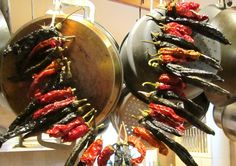 garlands of dried peppers for the kitchen