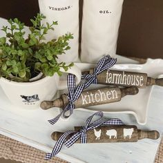 Excited to share this item from my shop: Mini rolling pins / Farmhouse decor / Farmhouse Kitchen / Rolling Pin / Tiered Tray Decor / Rae Dunn / Cow Pig Chicken Country Farmhouse Decor, Modern Farmhouse Kitchens, Farmhouse Style Kitchen, Home Decor Kitchen, Country Kitchen, Kitchen Ideas, Kitchen Tips, Kitchen Interior, Pig Kitchen
