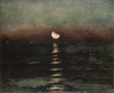Moonlight, Alfred Stevens.  Paintings