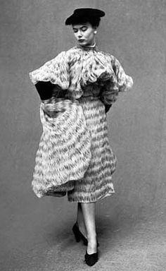 Cristobal Balenciaga Chiffon Coat and Dress, photo by Gordon Parks, 1951
