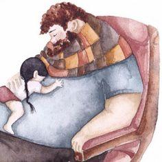 Prachtige tekeningen die échte vaderliefde illustereren