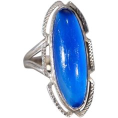 Vinage Sterling Silver Extra Large Royal Blue Luster Opalescent Glass Stone Fancy Etched Band Ring, Size 4