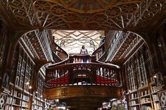 Livraria Lello, Porto, Portugal - This divine neo-gothic bookstore, opened in contains what we consider to be the ultimate definition of a stairway to heaven. Beautiful Library, Dream Library, Livraria Lello Porto, The Places Youll Go, Places To See, Most Beautiful, Beautiful Places, Porto Portugal, Bratislava