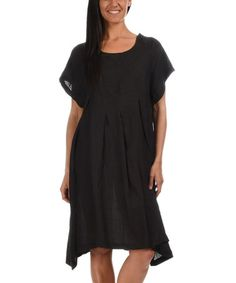 Loving this Black Linen Dress on #zulily! #zulilyfinds