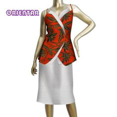Two Pieces African Set Women Sleeveless Tops and Skirt African Printed Bazin Riche White Lace Skirts Set African Clothing African Print Fashion, African Fashion Dresses, African Dress, African Clothes, African Style, White Lace Skirt, Womens Sleeveless Tops, Spring, Skirt Set
