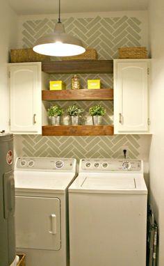 25 Small Laundry Room Ideas - Home Stories A to Z | Herringbone brickwork stencil