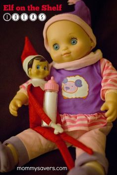 Ideas for Elf on the Shelf - Pictures, printables, games #elfontheshelf