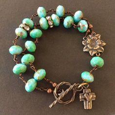 Czech glass beaded bracelet with solid bronze cross charm