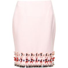 Mother of Pearl Leah embellished wool-crepe skirt (7 820 UAH) ❤ liked on Polyvore featuring skirts, bottoms, knee length pencil skirt, pencil skirt, embellished pencil skirt, crepe pencil skirt and pink pencil skirt