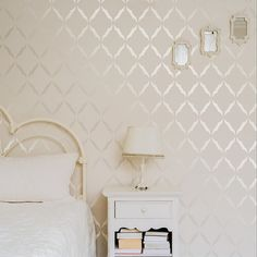 The Moroccan Allover Wall stencil is a light and luxurious twist on a classic design. Simple and elegant way to add pattern to any space. For a lovely subtle pattern, try using a tone on tone with metallic. Accent Wallpaper, Wall Wallpaper, Wallpaper With Gold, Accent Wall Bedroom, Bedroom Decor, Wall Paper Bedroom, Master Bedroom, Wall Stencil Patterns, Moroccan Pattern