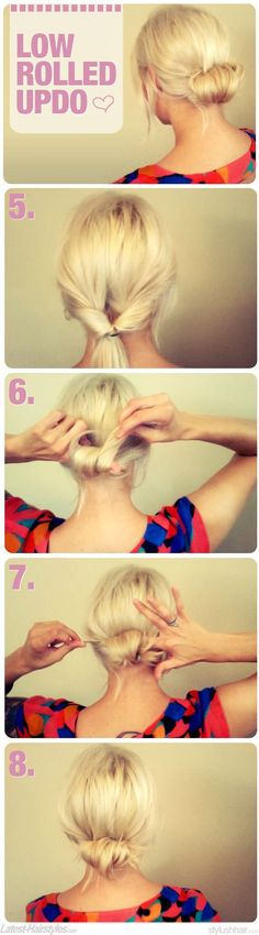 Low Rolled Updo Start with a low pony tail. Then Turn it Inside out Roll it up!