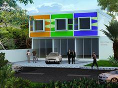 60 Desain Ruko 2 Lantai Minimalis dan Modern | Desainrumahnya.com Office Building Architecture, Facade, Cool Designs, House Design, Rustic, Projects, Interior, Aries, Home Decor