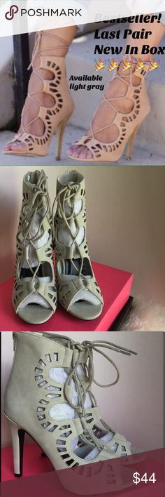 TOP SELLING STYLE🎉🎉🎉🎉 in my closet LT GRAY Another rare pair! Light gray faux suede lace up heels. New in box. Never worn. 4 1/4 inch heel. True to size. Scallop cut design. See separate listing in my closet for a steel blue pair. Grab them while you can. LAST PAIR, NO MORE........SMOKE FREE PET FRIENDLY home. Charlotte Russe Shoes Heels