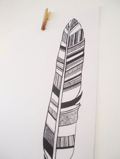 Pen drawing of patterns in a feather...try with students