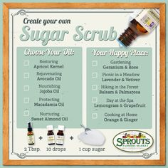Scrub your cares away - Easily create your own sugar scrub using this chart from Sprouts.