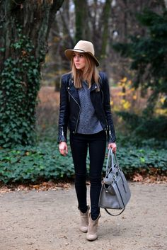 black jacket + grey sweater + jeans +tan boots