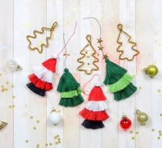 DIY Holiday Ornaments by Rebecca Luminarias for We R Memory Keepers Handmade Ornaments, Christmas Tree Ornaments, Holiday Crafts, Holiday Fun, Holiday Ideas, Yarn Crafts, Fabric Crafts, Christmas Tree Earrings, We R Memory Keepers