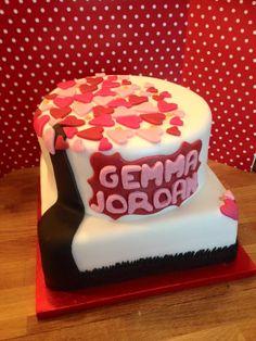 Love heart engagement cake