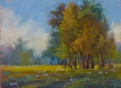 Painting My World: Paint Along Monday...Trees and Wildflowers with complimentary underpainting