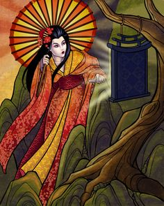 Amaterasu by *tattereddreams at deviantart (more goddess work in her gallery)