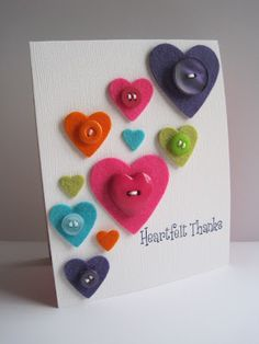 """heartfelt"" thanks card--pinning because I love the clever use of the felt and the heart dies Tarjetas Diy, Thanks Card, Button Cards, Heart Cards, Valentine Day Cards, Paper Cards, Cute Cards, Creative Cards, Scrapbook Cards"