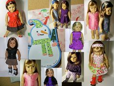 Easy dresses to sew for American Girl Dolls!  Info on PDF patterns to download that feature great fit and perfect directions.  Source links for products and info on how to make doll tights from women's microfiber tights!  Features a copy-cat AG Holiday outfit!  Links for making matching headbands.