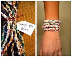 Wrap Around Braided Recycled Fabric Bracelets 2 by mynameiskorrine Diy Bracelets How To Make, Homemade Bracelets, Textile Jewelry, Fabric Jewelry, Jewelry Crafts, Handmade Jewelry, Fabric Bracelets, Braided Bracelets, Wrap Bracelets