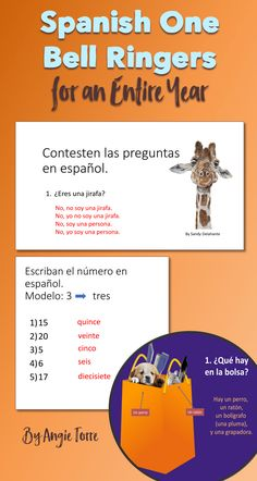 These Spanish One Bell Work PowerPoints will keep your students engaged while you take roll and do the necessary preparations at the beginning of class. The PowerPoints are packed with visuals to aid in comprehension and to engage the students. Students will be asked to answer questions, fill in the blanks, complete the sentences, change ridiculous sentences to logical ones, correct the errors, and describe visuals to name a few tasks. Vocabulary will be recycled for reinforcement and…