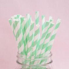 ペーパーストロー(25本入り)<br>【Mint Green Stripe】