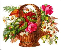 Free Flower Clip Art: Victorian Die Cut of Flower Basket with Pink Roses and Daises Victorian Flowers, Vintage Flowers, Vintage Floral, Victorian Art, Green Basket, Flower Basket, Vintage Ephemera, Vintage Cards, Vintage Pictures