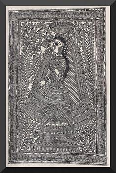 Madhubani / Mithila Painting (Bihar) -gopi-from-vrindavan . - Indian Painting Styles … Madhubani / Mithila Painting (Bihar) -gopi-from-vrindavan. Tribal Pattern Art, Tribal Art, Folk Art Flowers, Mandala Art Lesson, Madhubani Art, Indian Folk Art, Indian Art Paintings, Madhubani Painting, Fashion Painting