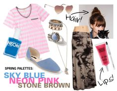 Spring Palettes: Sky Blue, Neon Pink, Stone Brown #outfit #style #fashion