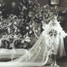Big day: A portrait of Huguette Clark in her wedding gown at Bellosguardo in Santa Barbara...