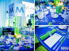 Blue + Green Club themed Bar Mitzvah party at JW Marriot in Miami. Event planning by Linzi Events and Decor by The Eventorist Bar Mitzvah Decorations, Bar Mitzvah Centerpieces, Bar Mitzvah Themes, Bar Mitzvah Party, Bar Mitzvah Invitations, Sweet 16 Invitations, Wedding Invitation Cards, Party Invitations, Event Themes