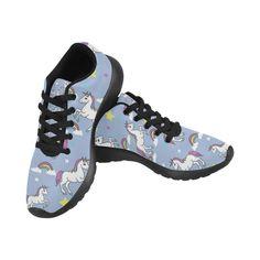 Unicorn Pattern Black Sneakers for Women
