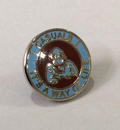 "Casuals ""It's a way of life"" Claret / Blue 15 mms Push Back Fastener Premier League Soccer, Football Casuals, Burnley, Badge Design, West Ham, Badges, Enamel, Blue, Accessories"