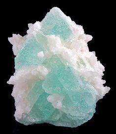Fluorite green octahedrons on matrix of Quartz crystals / American Tunnel Mine, Colorado