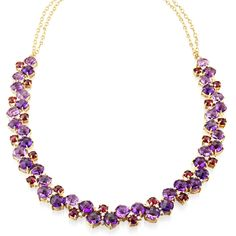 CARELLE - Amethyst, Rhodolite and Diamond Cluster Necklace. Exquisite designs with wow-factor appeal entice and inspire the fashionably fearless.  A stunning mix of vibrant Amethyst and Rhodolite gemstones, with brilliant Diamonds, offers a kaleidoscopic take on the classic collar necklace. Necklace features a pink Sapphire toggle closure. •$14,710.00