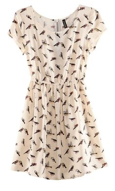 Bird Pattern Chiffon Tunic Dress