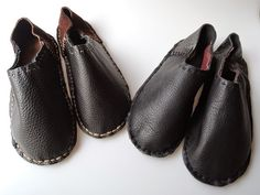 Upcycle crisp leather slippers BLACK  Japanese di HeiwaSlipper